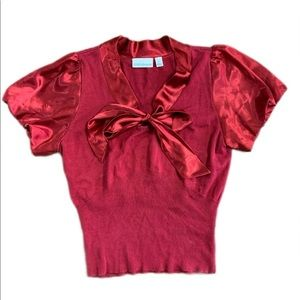 Vintage Red Satin Bow Tie Collar Short Sleeve Top